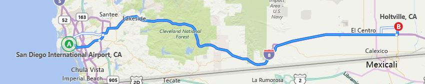 Driving route from SAN to Holtville, CA