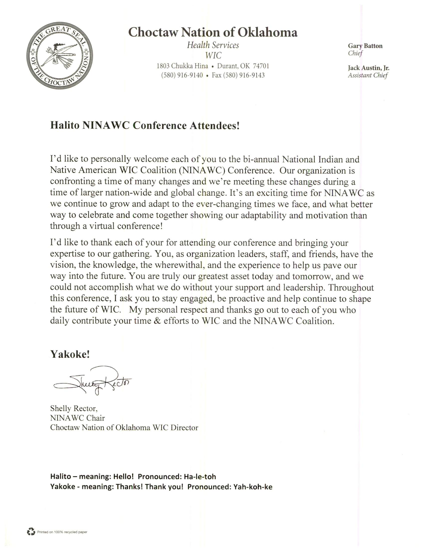 Welcome Letter from Choctaw Nation of Oklahoma WIC Director