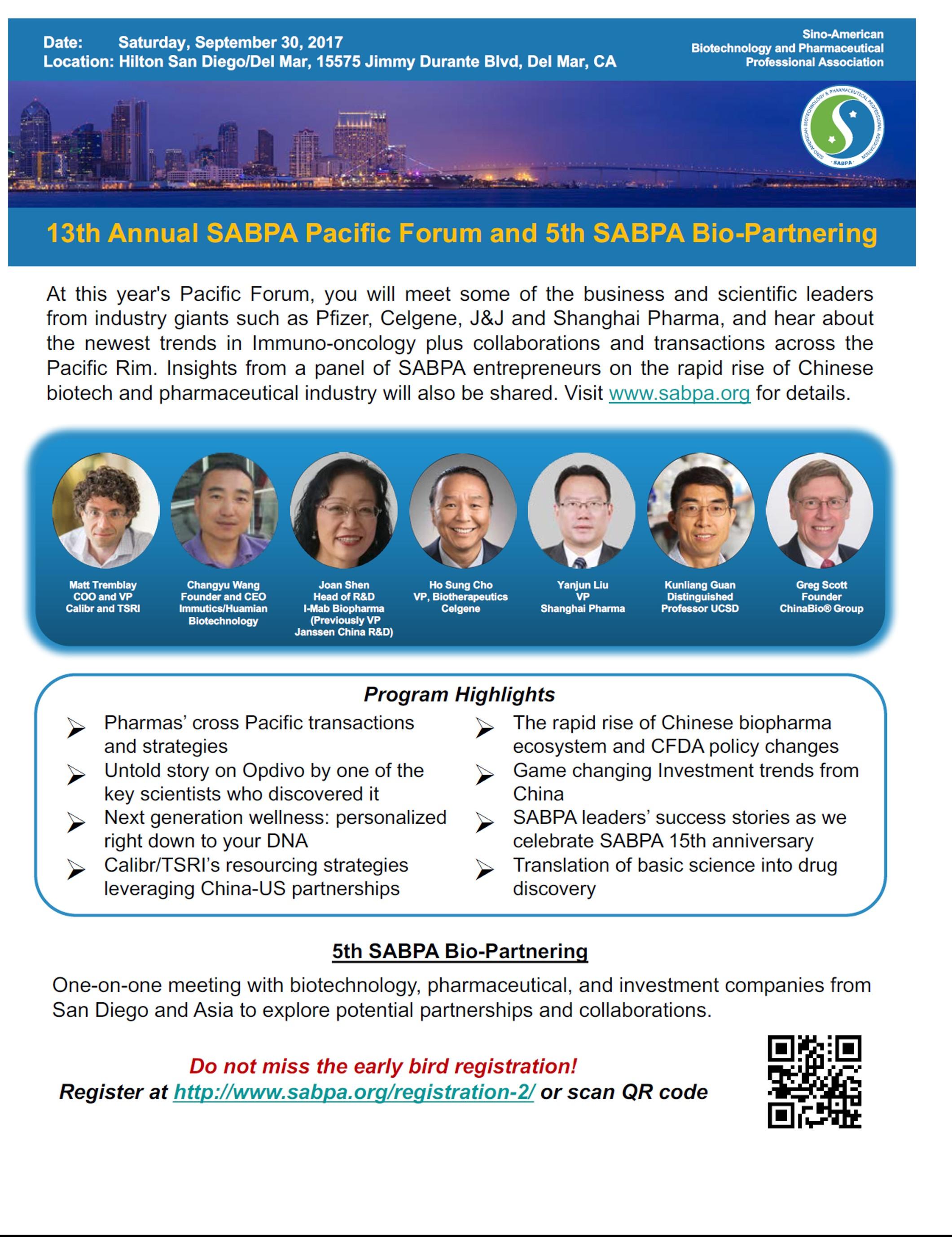 13th SABPA Pacific Forum (San Diego 9/30)